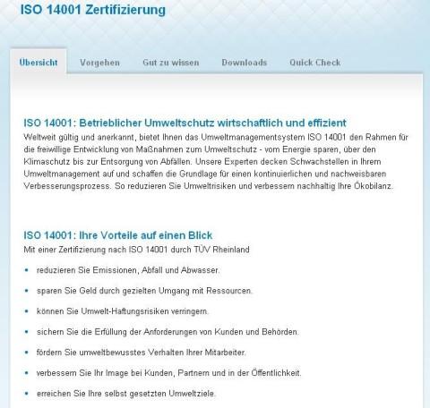 ISO 14001 vom Tüv Rheinland