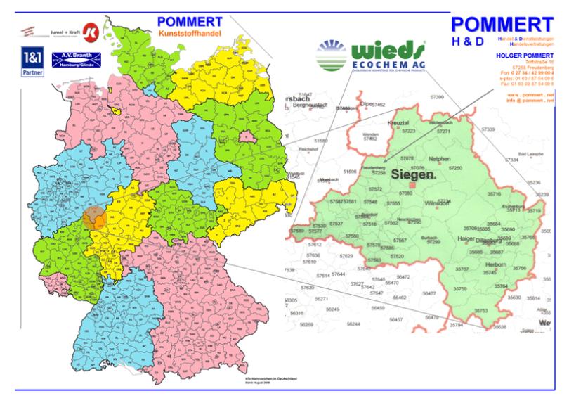 Karte Deutschland und Gebiet WIEDS