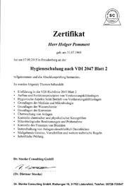 Zertifikat der Hygieneschulung nach VDI 2047-2