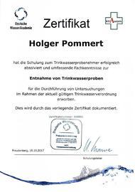 Zertifikat zur Entnahme von Trinkwasserproben