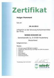 Zertifikat WIEDS Ecochem KSM-Schulung