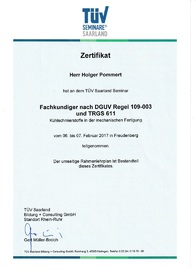 Zertifikat Fachkunde DGUV Regel 109-003